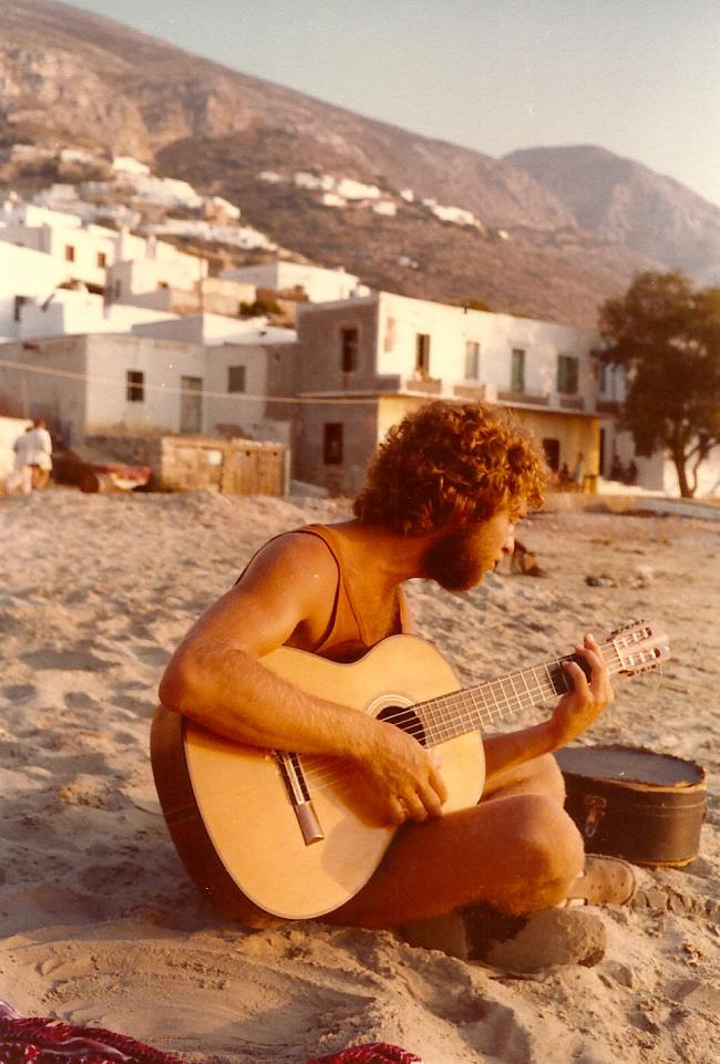 composing in amorgos, greece, 1977